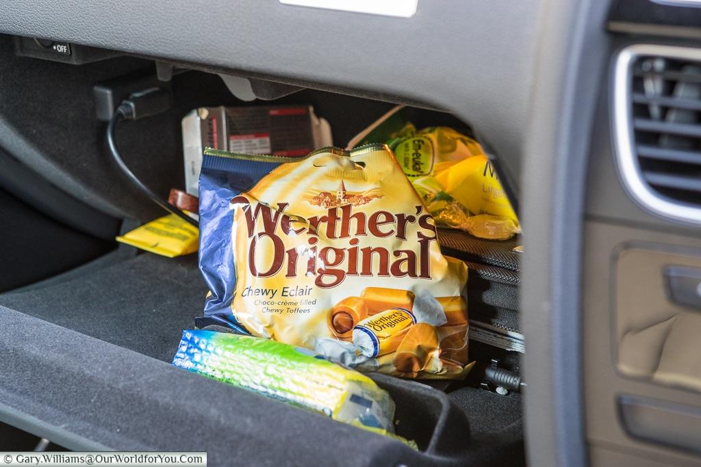 Wether's Originals in the glovebox