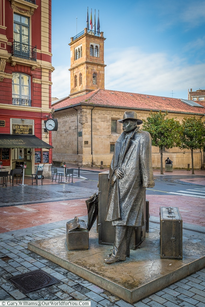 The sculpture 'El Regreso de Williams B. Arrensberg' also known as 'The Traveller', Oviedo, Spain