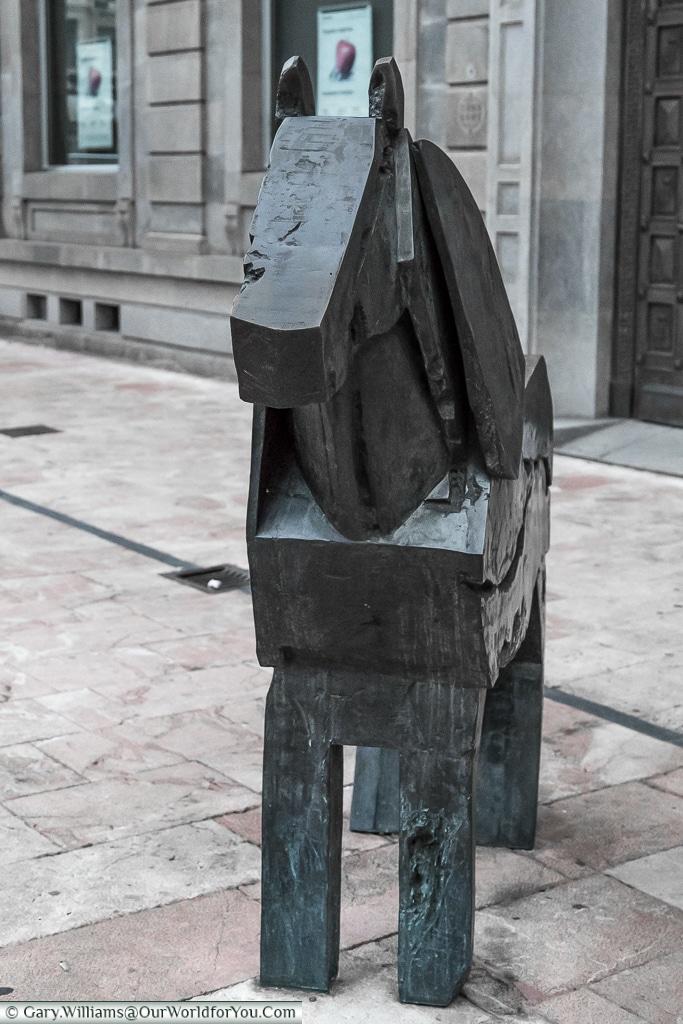 A statue of a Lone Asturcon pony, Oviedo, Spain