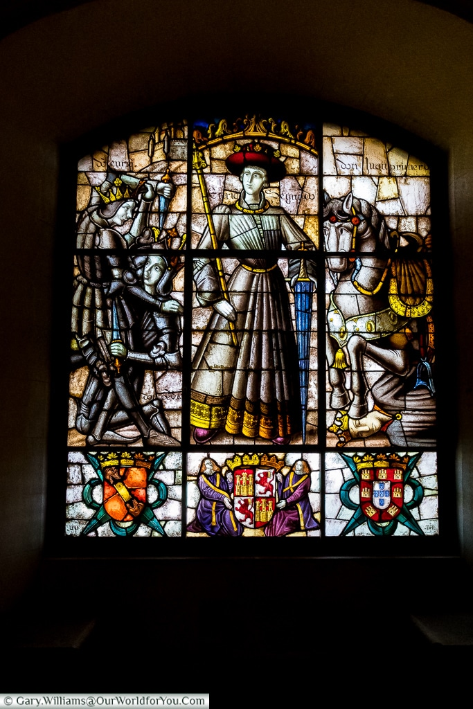 A stained glass window in the Galley Room, Alcázar, Segovia, Sp