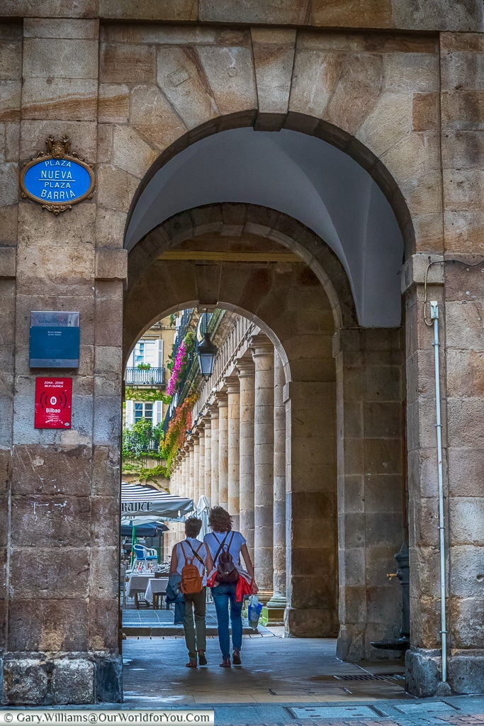 An arch leading to Plaza Nueva, Bilbao, Spain