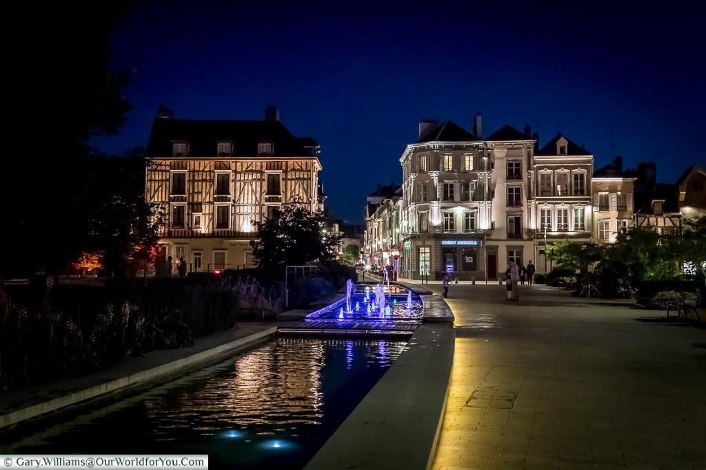 The Place de la Libération at night, Troyes, Champagne, Grand Est, France