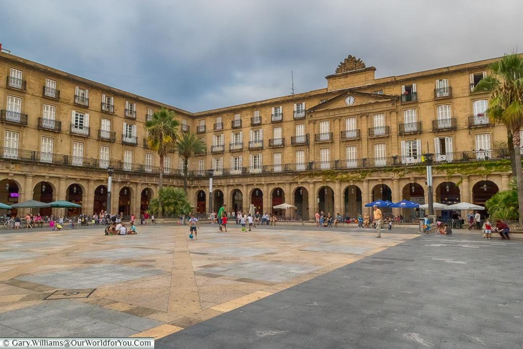 Plaza Nueva - people gathering, Bilbao, Spain
