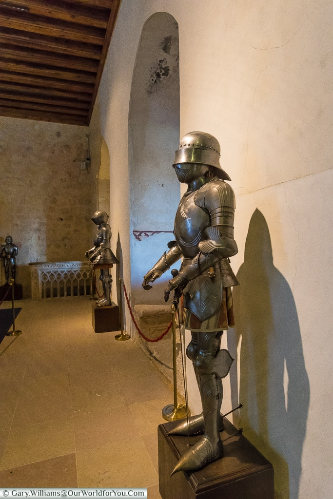 Suits of armour in the 'The Old Palace Room', Segovia, Spain
