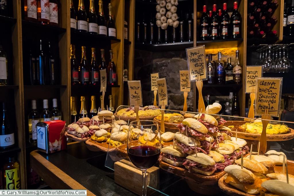 The Zaharra pintxos bar in the corner of Plaza Nueva, Bilbao, Spain