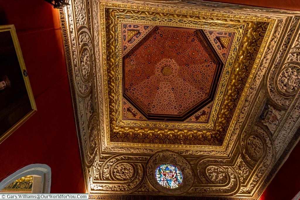 The ceiling in Throne Room, Alcázar, Segovia, Spain