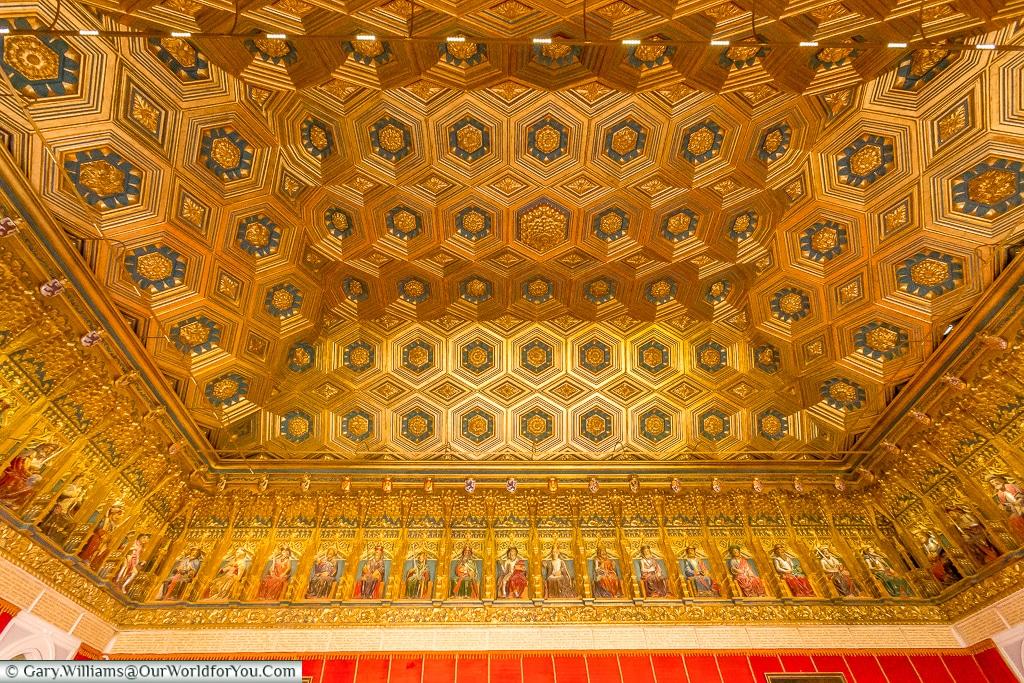 The ceiling of the Monarchs Room, Alcázar, Segovia, Spain