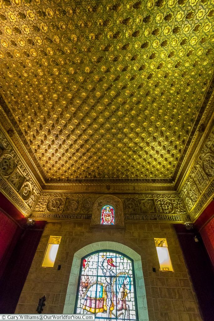 The ceiling of the Pine Cone Room, Alcázar, Segovia, Spain