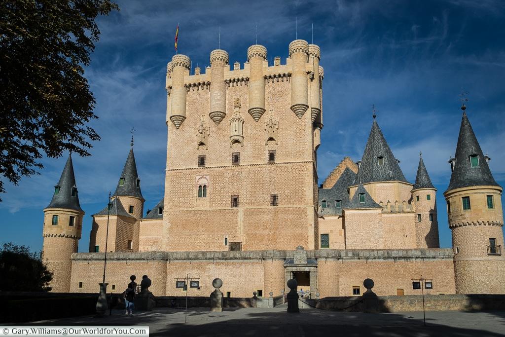 The soft pink hues of the Alcázar, Segovia, Spain