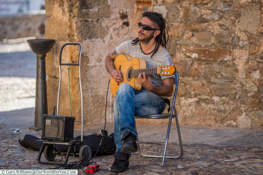 A guitarist playing the Spanish guitar, Cáceres, Spain