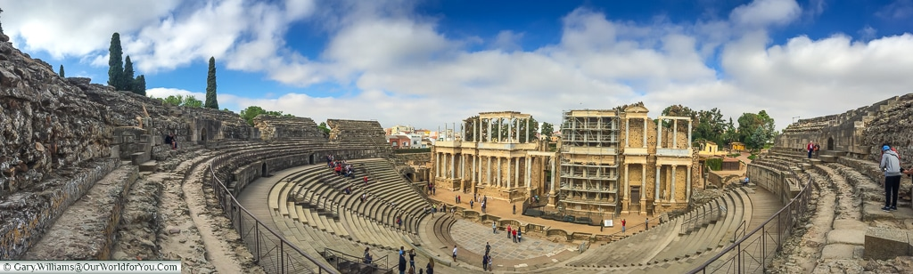A panoramic view of the Roman theatre, Mérida, Spain
