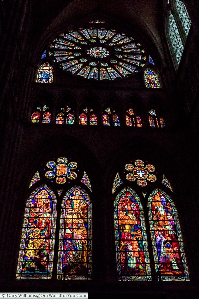 A stained glass window in Saint Etienne Cathedral, Châlons-en-Champagne, France