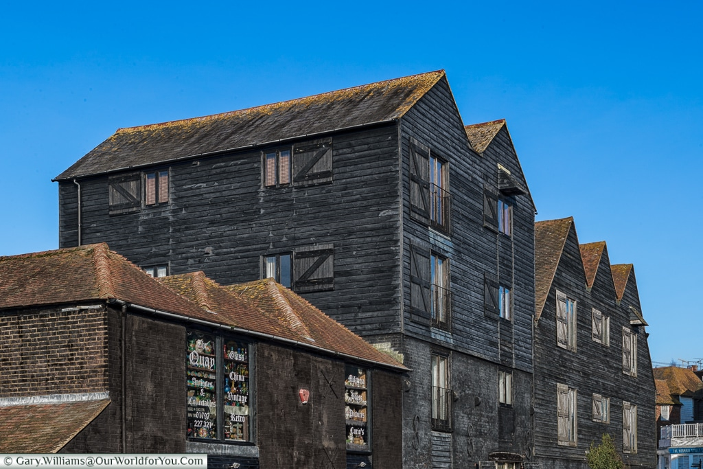 Black buildings at the quay, Rye, East Sussex, England, UK