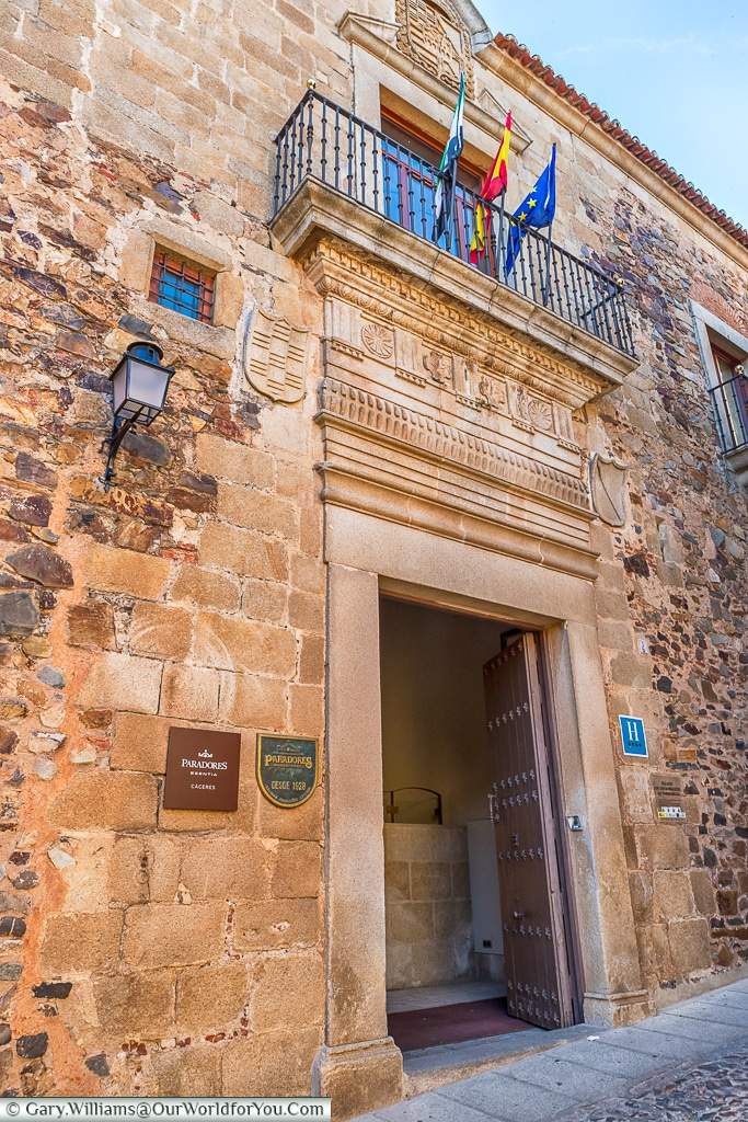 The entrance to the Parador, Cáceres, Spain