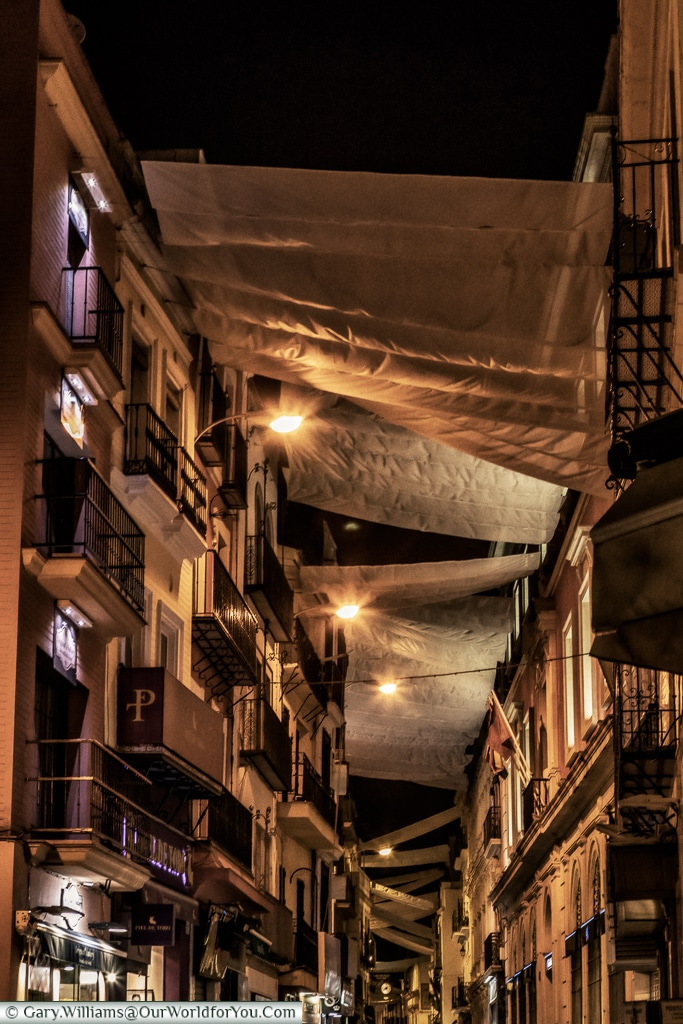 Calle Sierpes by night. Seville, Spain