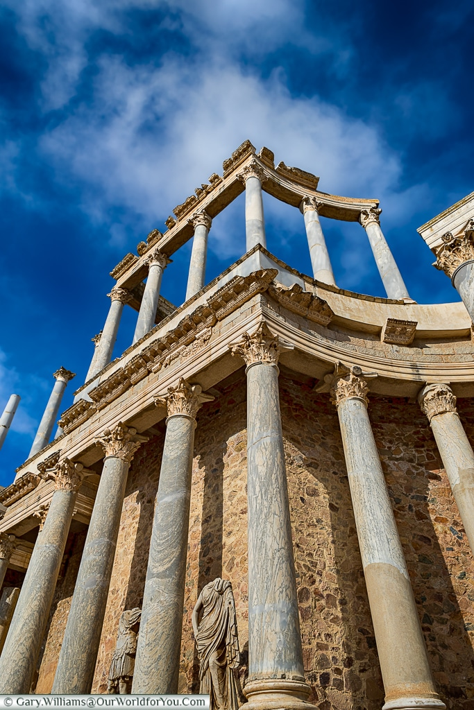 Impressive columns of the Roman theatre, Mérida, Spain