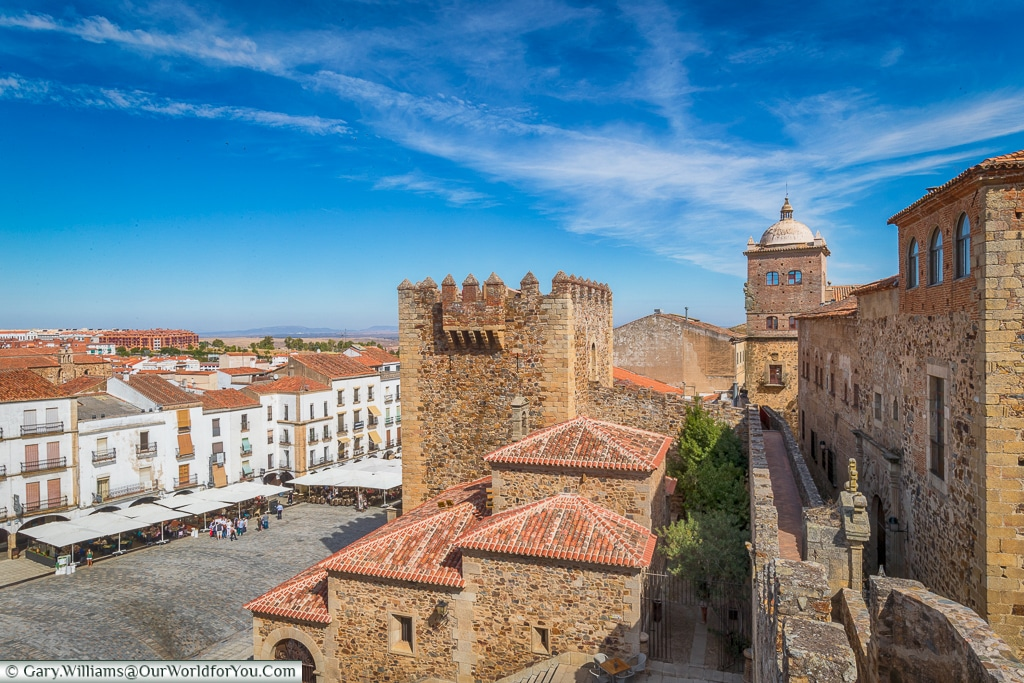Looking along the ramparts, Cáceres, Spain
