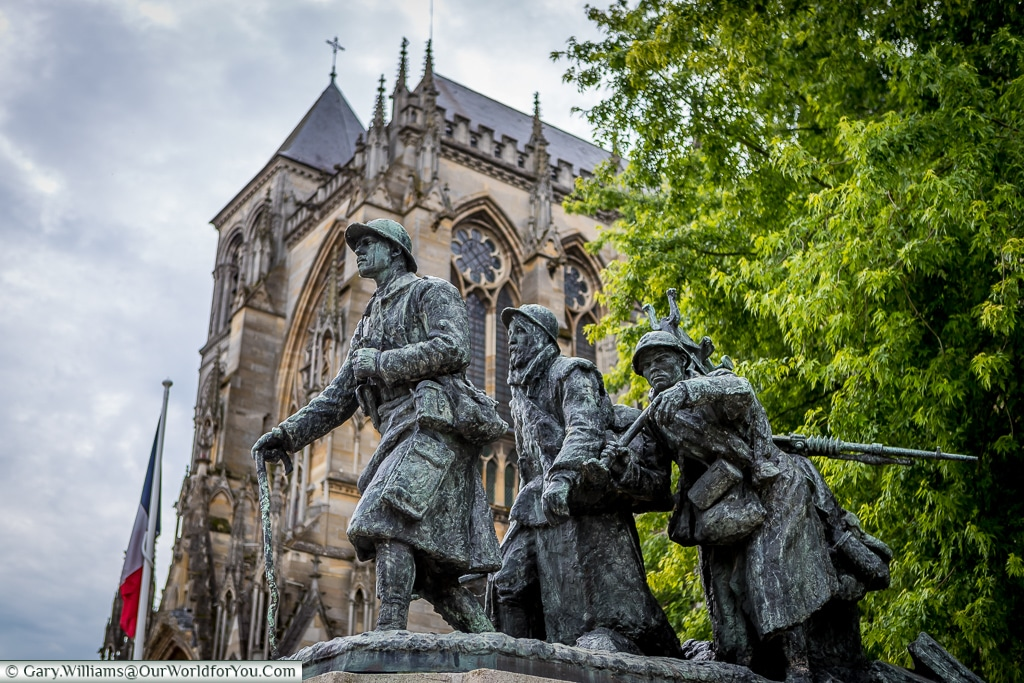 Monument to the fallen outside Saint Etienne Cathedral, Châlons-en-Champagne, France