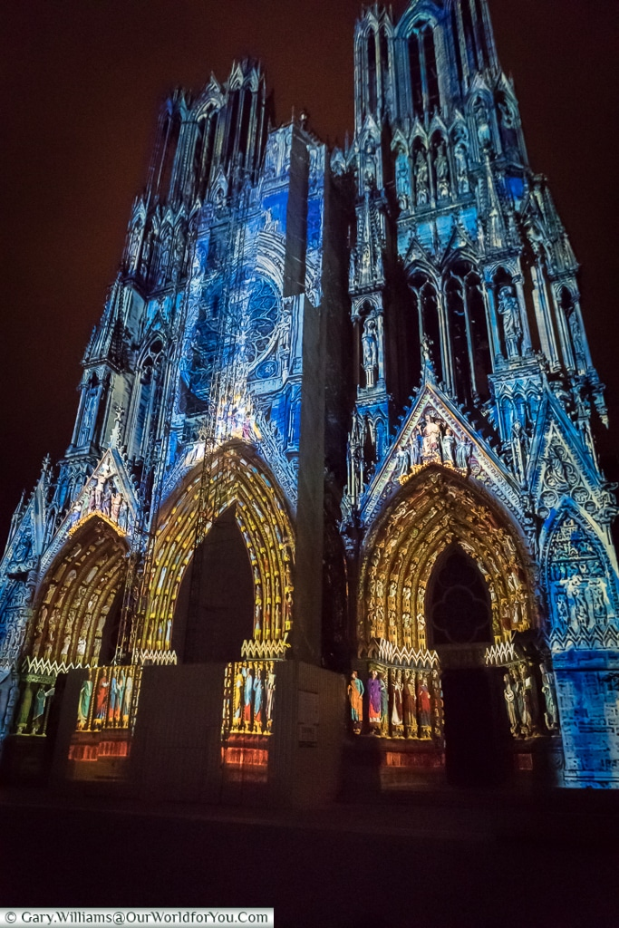 The Cathedral at night, Reims, Champagne Region, France