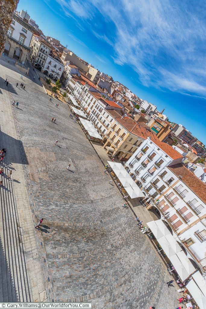 The Plaza Mayor from the ramparts , Cáceres, Spain