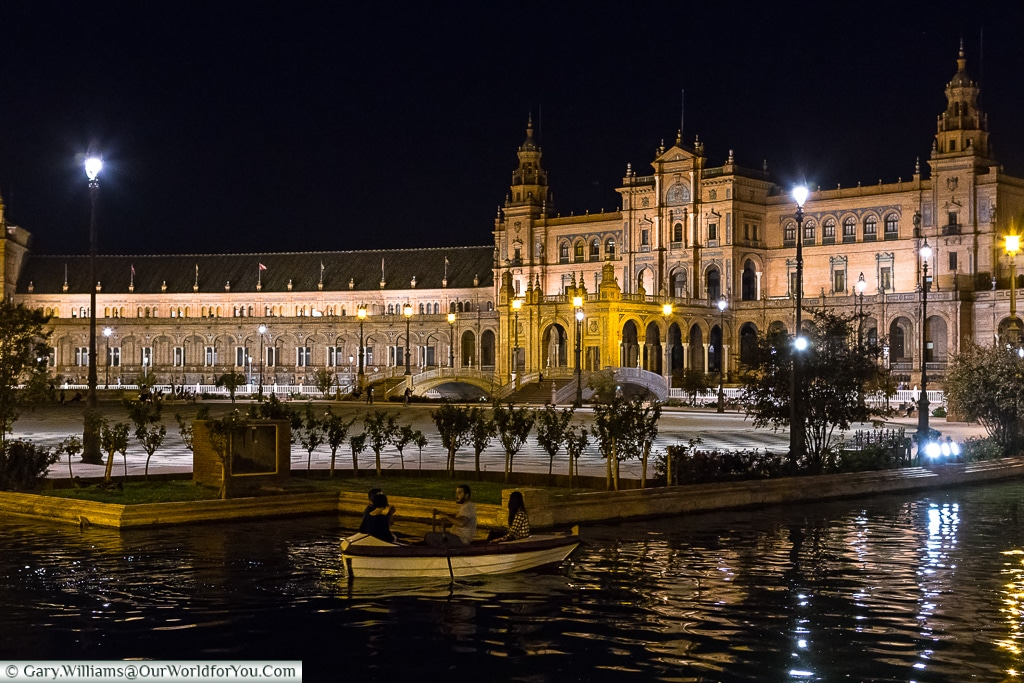 The Plaza de España at night, Seville, Spain