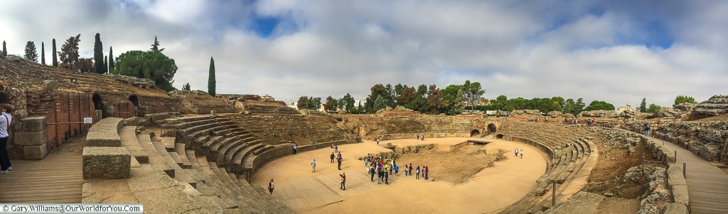 The full view of the amphitheatre, Mérida, Spain