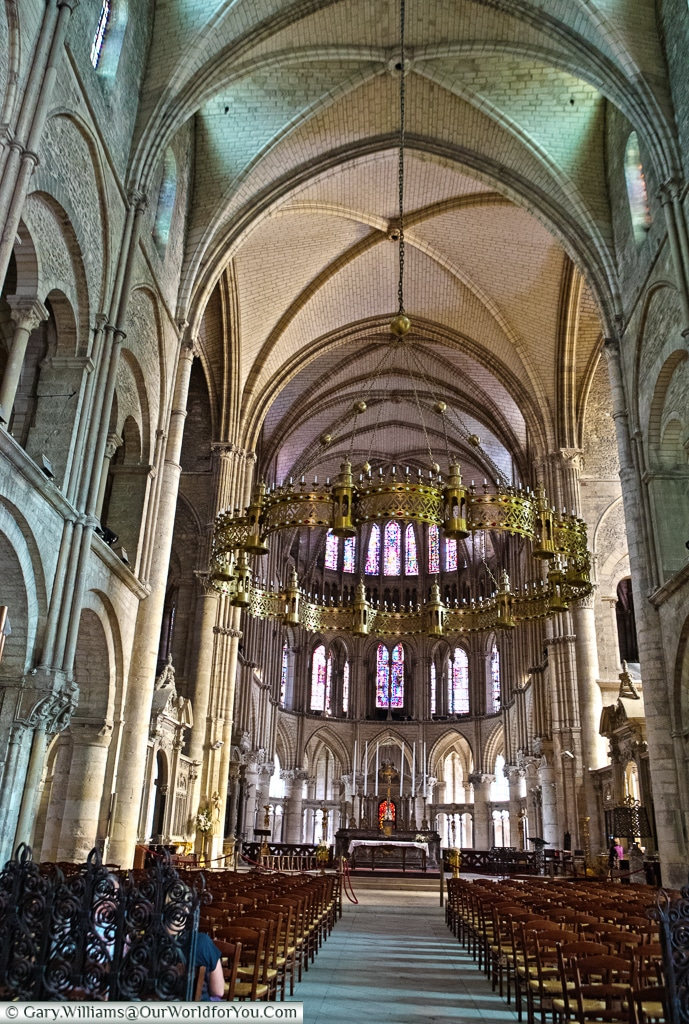 The nave of Basilique Saint-Remi, Reims, Champagne Region, France