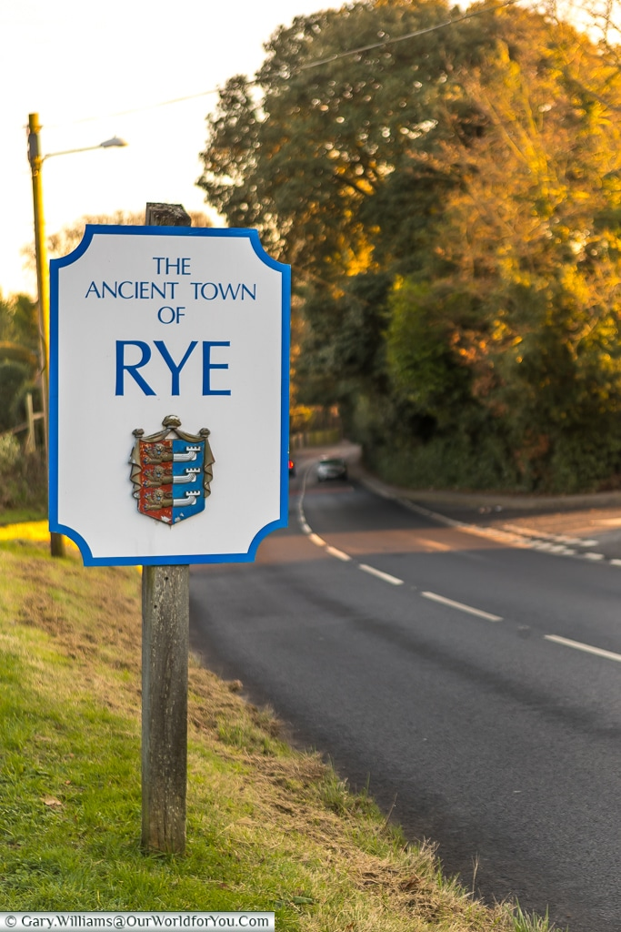 The sign to the Ancient Town of Rye, East Sussex, England, UK
