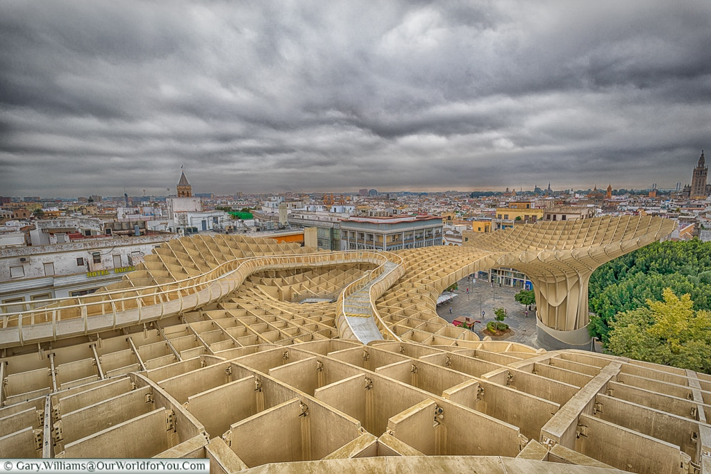 The view across the Metropol Parasol, Seville, Spain