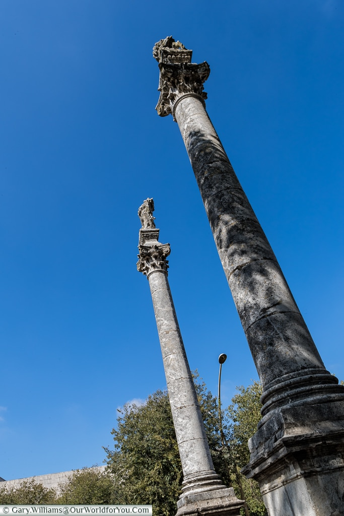 And two columns stand at the other end of Alameda de Hércules,, Seville, Spain