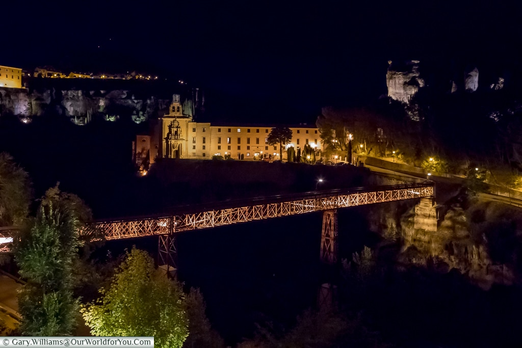 The parador and the bridge at night, Cuenca, Spain