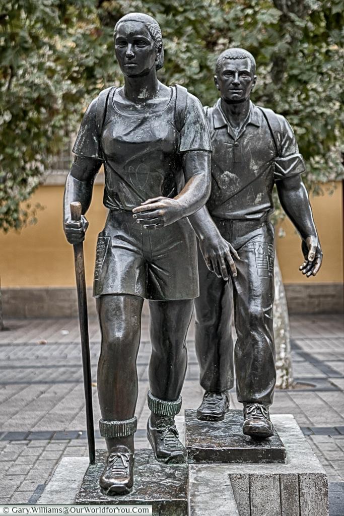 Camino de Santiago hiking statue, Logroño, Spain